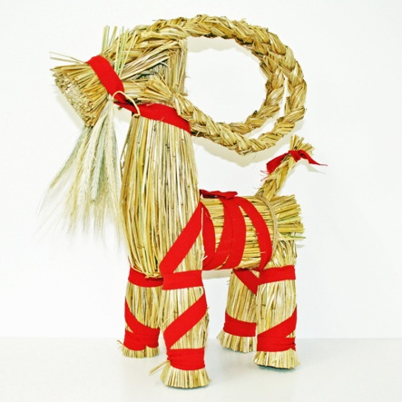 """Straw Goat - Fat Julbock - 17"""" High - Heavier and sturdier. Imported from Sweden A tradition in Scandinavia for centuries, the Julbock or """"Yule Goat"""" was the bringer of gifts to the household. Having a Julbock in your home is a symbol of """"Jul"""" and a time of good cheer. A """"must have"""" for any Scandinavian celebrating the holiday season."""