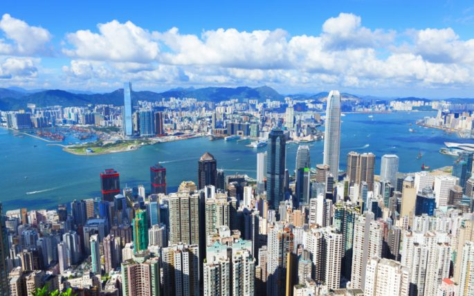 Victoria Harbour, Hong Kong, shot from the Peak